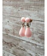 Vintage Clip On Earrings Light Pink Dangle - $10.99