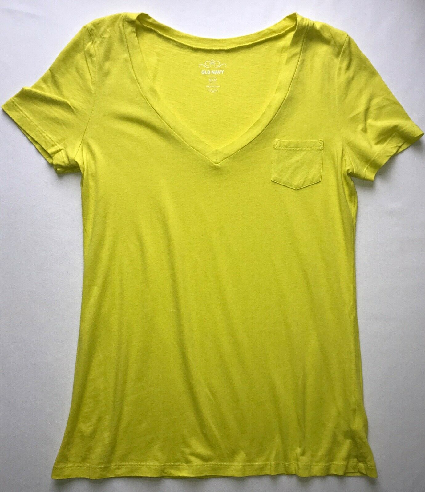 "Primary image for ""Everly"" Short Sleeve V Neck T Shirt in Neon Yellow in Small"