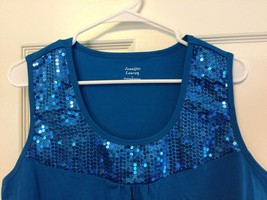 Sleeveless Knit Top Blue Sequined Tank Cami by Jennifer Lauren Blue Size L - $6.88
