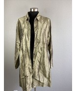 Chicos Womens Top 3 XL Bronze Metallic 100% Silk Long Sleeve Button - $98.99