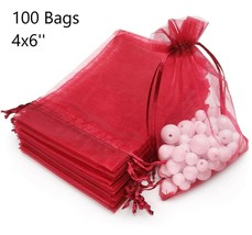 100 Wine Red Organza Bags Wedding Favors Valentines Sheer Jewelry Pouche... - $19.34
