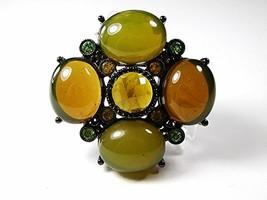 Vintage Black Back Green Orange Rhinestones Brooch 121216 - $36.99