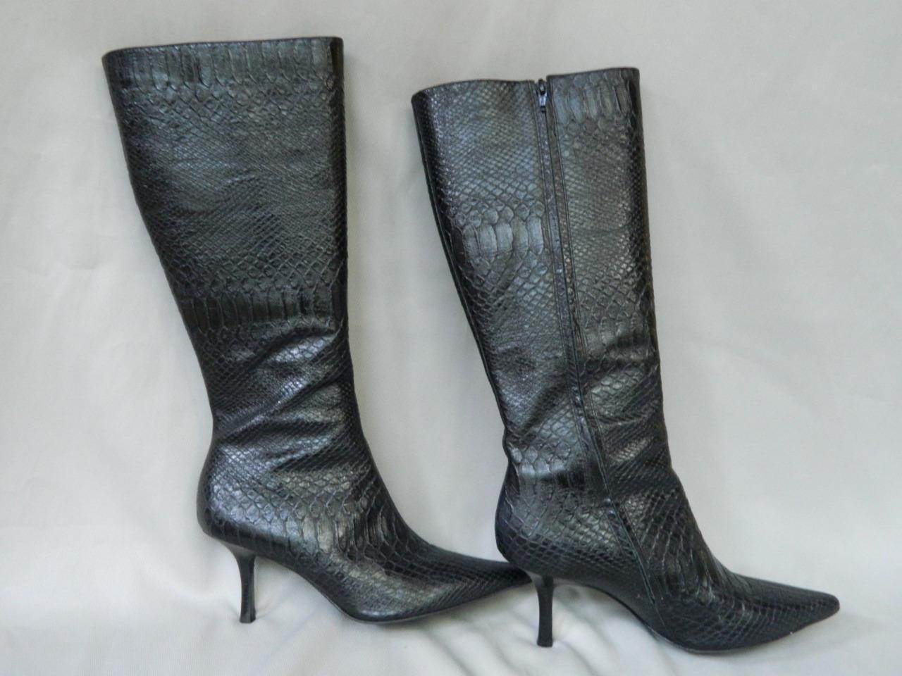 21e57503da Anne Klein Boots Tall Black LEather Reptile and 50 similar items. S l1600