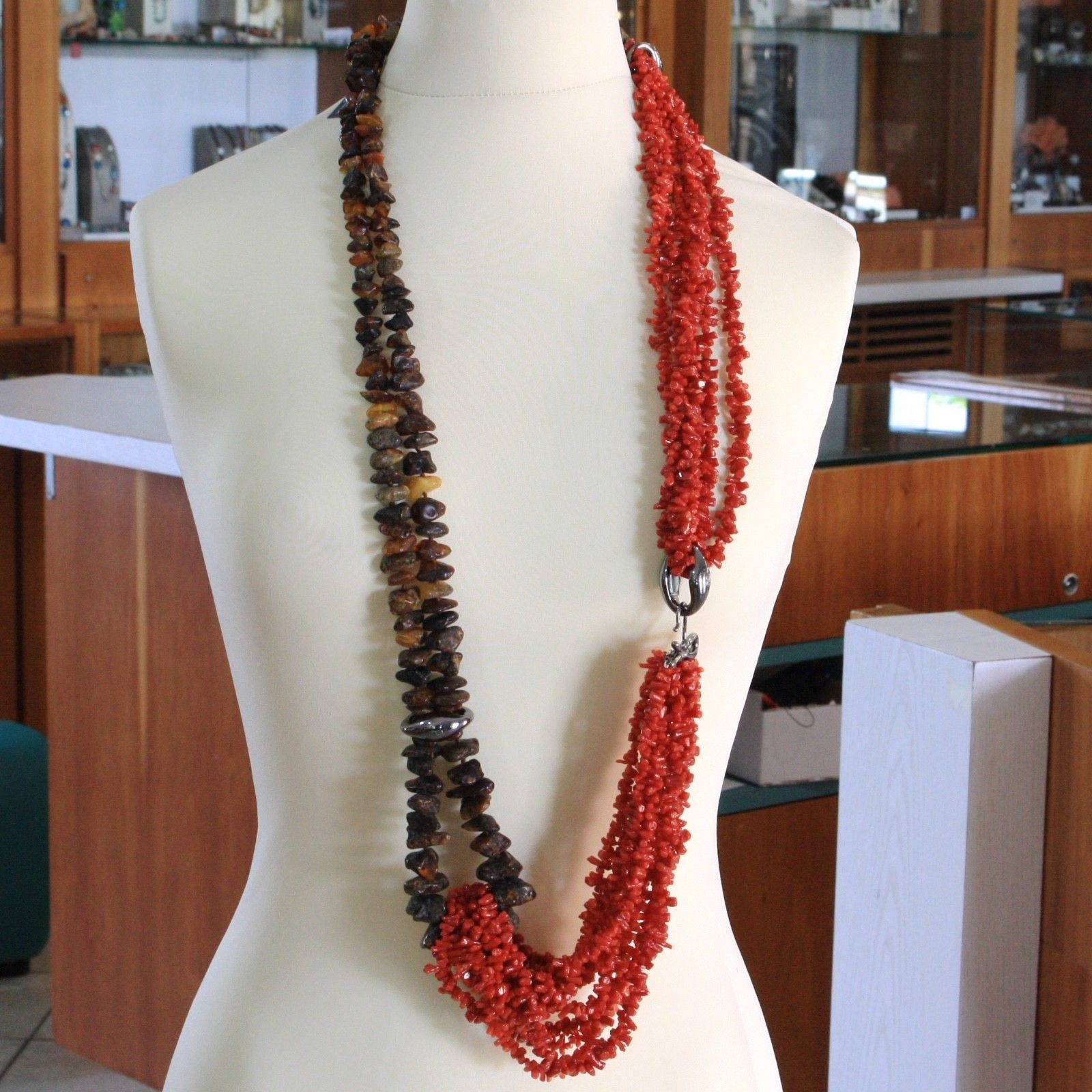 925 STERLING SILVER 105 CM LONG STRAND NECKLACE NATURAL RED CORAL, AMBER, ITALY