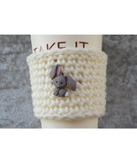 Hand Crafted To Go Cup Cozy with Grey Bunny Button - $4.00