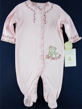 NWT Carters Girls Pink Floral Teddy Bear Sleeper with Feet, 6M or 9M - $6.99