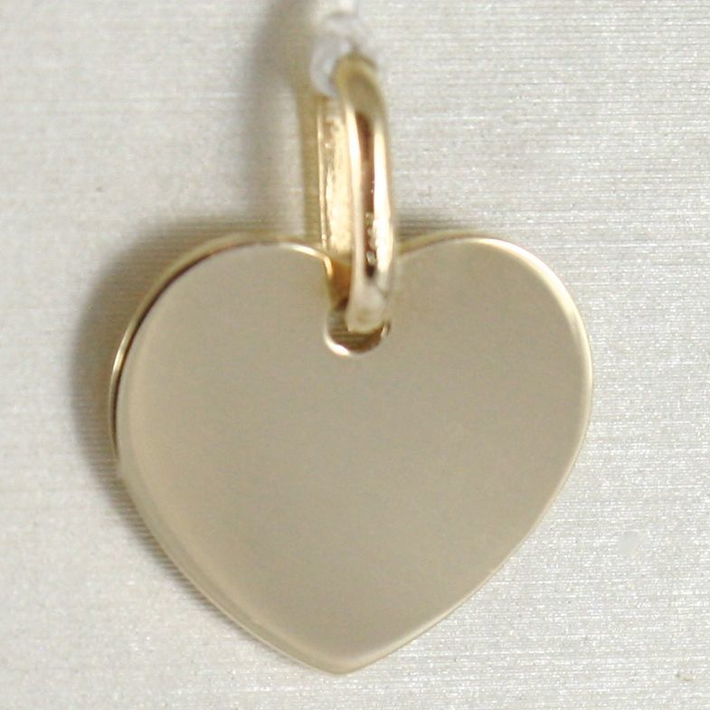 Yellow gold pendant 750 18k flat heart, engravable, length 1.6 cm, Italy