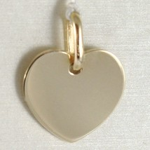 Yellow gold pendant 750 18k flat heart, engravable, length 1.6 cm, Italy image 1