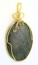 Dumortierite Brass Wire Wrap Pendant 30 - $27.91