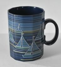 Otagiri Coffee Mug Tea Cup Blue Sailboats 12 Sided Dodecagon HTF - $14.95
