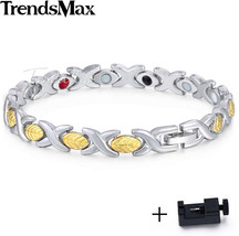 Trendsmax Magnetic Wristband Womens Bracelet Chain Stainless Steel Leaf ... - $39.63