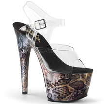 "PLEASER Sexy Stripper 7"" Heel Snake Print Platform Ankle Strap Women's Shoes - $89.95"
