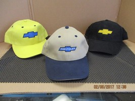 CHEVROLET/CHEVY-LOT OF 3 caps/hats-1 Lemon Yellow+1 Black+1 Tan w/DkBlue... - €8,40 EUR