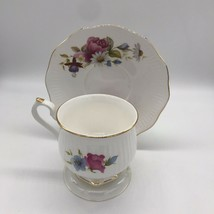 Enesco Tea Cup Saucer Set Roses And Daises Gold Trim Hexagon Cup Bottom - $13.82