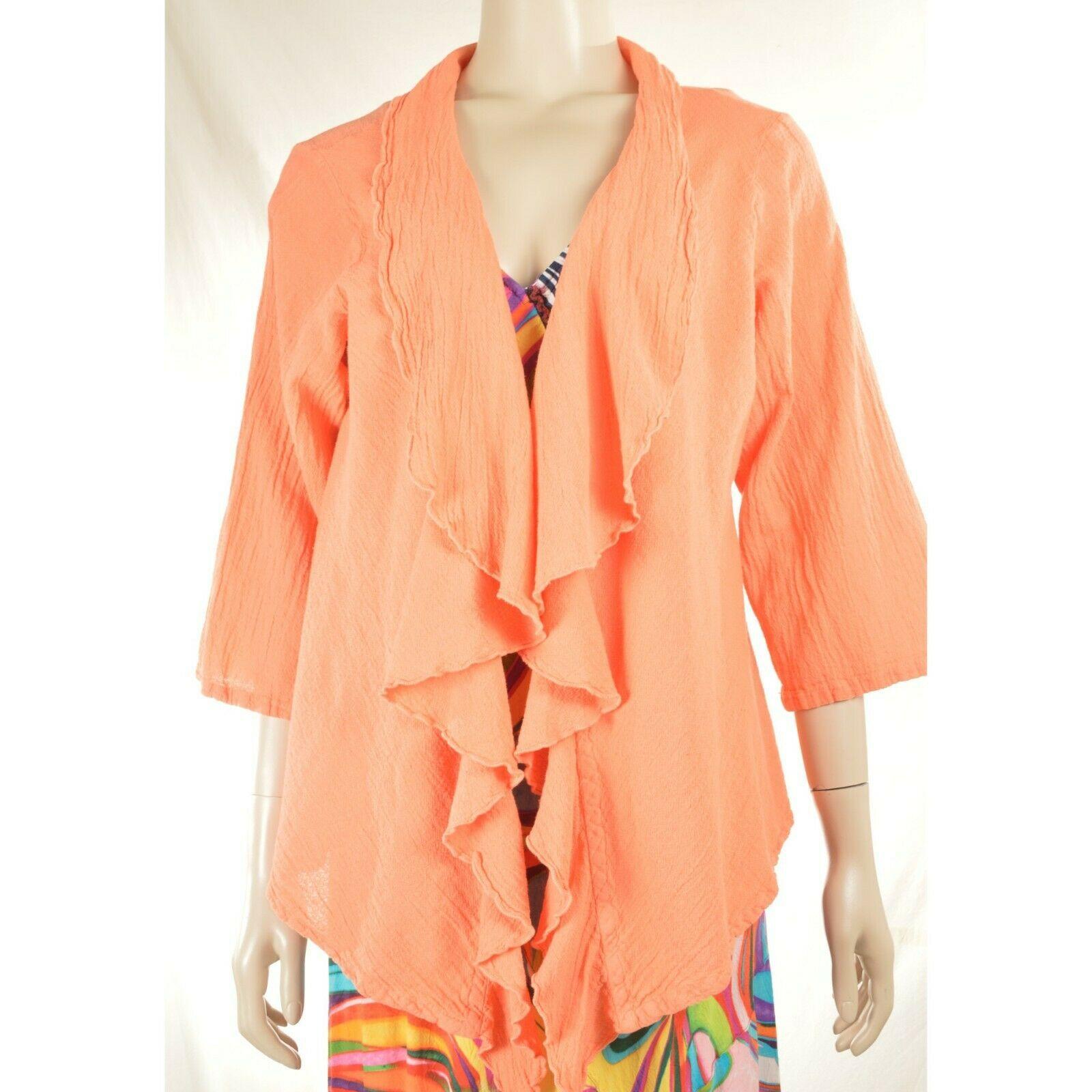 Oh My Gauge jacket cover open OS orange sherbet long sleeve ruffle front hi lo