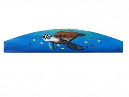 Sea Turtle Over the Door plaque beach art Nautical painting tortoise doo... - £42.25 GBP
