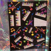 90s Lisa Frank Incomplete Sticker Sheet Pianos Ballet Shoes Hearts Guitars Music image 4