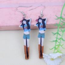 1 pair gentle girls red angel rabbit fairy printing drop earrings wings ... - $9.19