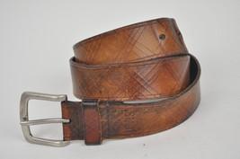 Levi's Crosshatched Diagonal Brown Leather Men's Belt Plaid Cuts Square Sz 36 - $24.70