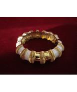 Vintage Elegant White and Gold Cuff Bracelet - $9.90