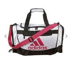 WHITE JERSEY/REAL MAGENTA adidas Defender III Small Duffle Bag (D) - $148.49