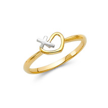 Religious 14K Solid Gold Heart Cross Fancy Ring - $112.00
