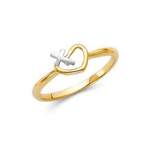 Religious 14K Solid Gold Heart Cross Fancy Ring - £84.21 GBP