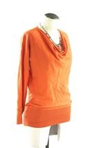 Talbots sweater S pure Italian Merino wool thin burnt orange drape cowl neck - $24.31