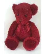 Russ Setta Teddy Bear Red Burgundy w/ Shiny Tinsel Plush Stuffed Animal ... - $9.84