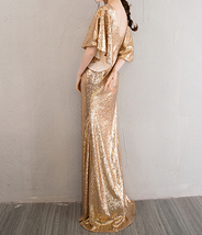 Sexy Golden Bat Sleeve Maxi Long Sequin Dresses Fitted Sequined Cocktail Dress image 5