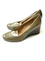 Franco Sarto Wedges Olive Green Leather Heels Career 9.5 Closed Toe Shoes - $34.64