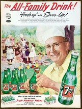1952 7-Up PRINT AD The All Family Drink! Cookout Barbecue Grandpa in Chef's Hat - $12.69