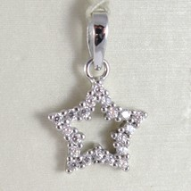 White Gold Pendant 750 18K, Star, Long 1.7 Cm, With Zircon, Made In Italy - $128.42