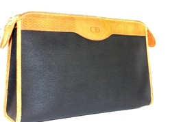 Auth Christian Dior canvas leather second Clutch Hand Bag Black Brown Fr... - $107.91