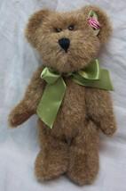 """Boyds NICE BROWN TEDDY BEAR W/ GREEN BOW & ROSE 7"""" Plush STUFFED ANIMAL Toy - $14.85"""