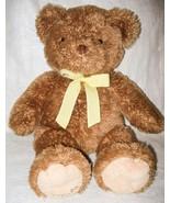 Carter's Brown Bear Large Plush Stuffed Animal Yellow Bow Brand Embroide... - $23.73