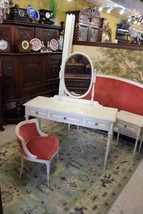 French Painted Antique White Small Mirrored Dresser Bedroom Vanity With ... - $1,182.75