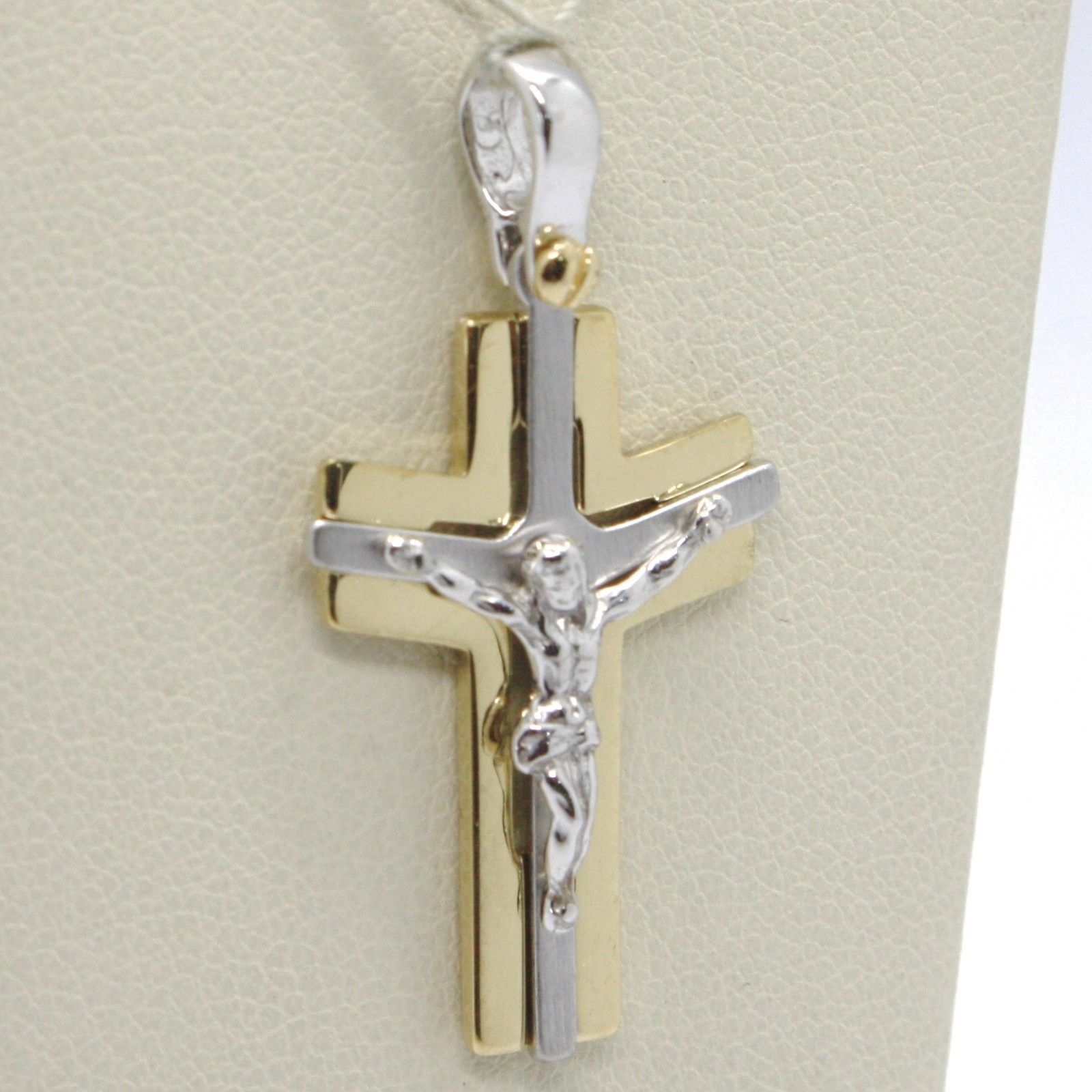 SOLID 18K WHITE YELLOW GOLD PENDANT ALTERNATE CROSS, JESUS, SATIN, MADE IN ITALY