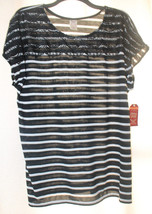 New Womens Plus Size 3X Black & White Striped Top With Romantic Lace - $15.47
