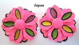 HUGE Vintage 1960's Hot Pink Flower Power Clip Earrings Made in Japan  - €12,30 EUR