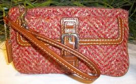 Coach Hamptons Herringbone Tweed Wool Large Wristlet 40792 Camel Rose - $19.00