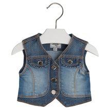 Mayoral Baby Girls 0M-24M Flap Pocket Ruffle Back Denim Jean Vest
