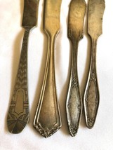 VTG Mixed Lot of 4 Silver plated Individual Spreader Knives Party Weddin... - $25.74