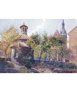 PRAHA Prague Romanesque Rotunda of St. Longine - COLOR Antique Print - $13.77