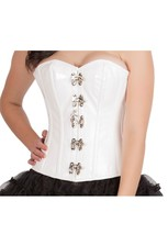 White Leather  Gothic Steampunk Bustier Waist Training Overbust Corset Top - $69.99