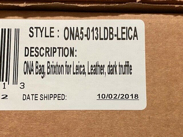 ONA Brixton Camera Messenger Bag, Dark Truffle Brown Leather Brand New In Box