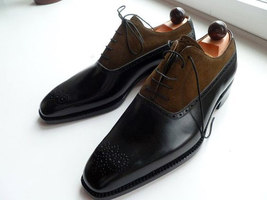 Handmade Men Black & Brown Heart Medallion Lace Up Leather & Suede Oxford Shoes image 1