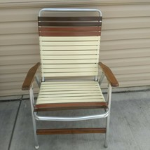 VTG Telescope Aluminum Folding Lawn Chair Brown 2 Tone Vinyl Strap Wood ... - $48.37