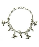 METAL WITCH BROOM CHARM BRACELET WITH CLASP FRIENDSHIP CHAIN LINK ADJUST... - $8.19
