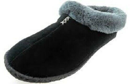 Primary image for COLUMBIA DUCHESS HILL WOMEN'S BLACK/GREY SUEDE FAUX FUR SLIPPERS #YL1406-010